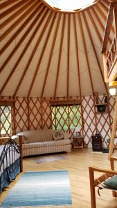 Short term vacation rental yurt interior skylight